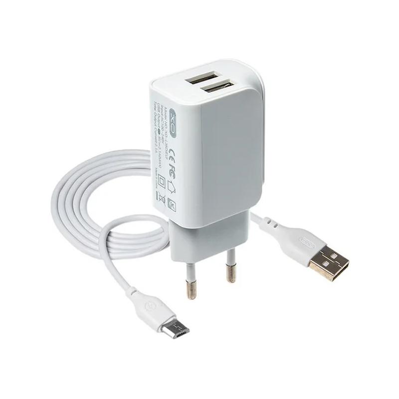 Зарядний пристрій з кабелем microUSB XO L35D 2 USB 2100 mA white