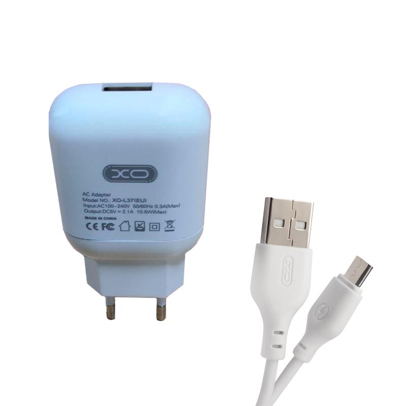 Зарядний пристрій з кабелем microUSB XO L37 1 USB 2100 mA white