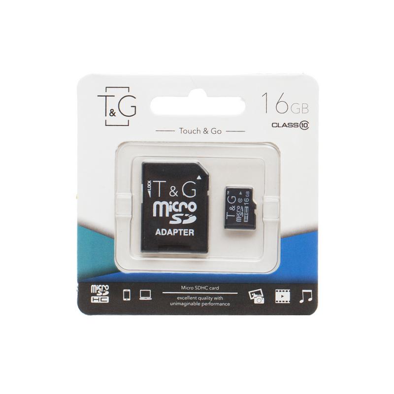 Карта пам'яті microSD 16 Гб T&G з адаптером class 10