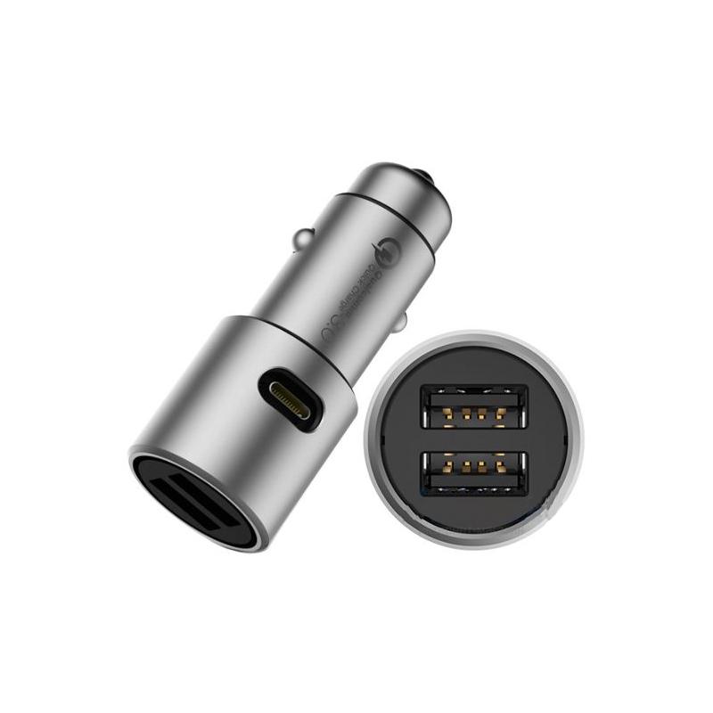 Автомобільний зарядний пристрій Xiaomi Car Quick Charger 3.0 2 USB silver (CZCDQ02ZM)
