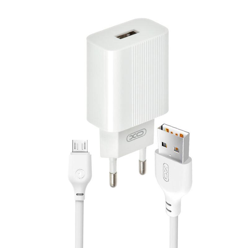 Зарядний пристрій з кабелем microUSB XO L53 1 USB 2000 mA white
