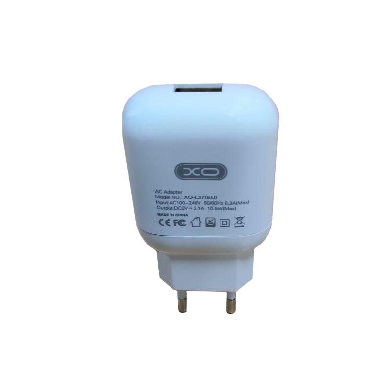 Зарядний пристрій XO L37 1 USB 2100 mA white
