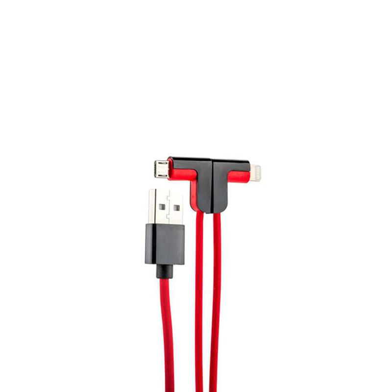 USB кабель Hoco X12 One Pull Two 2 в 1 microUSB, Lightning red