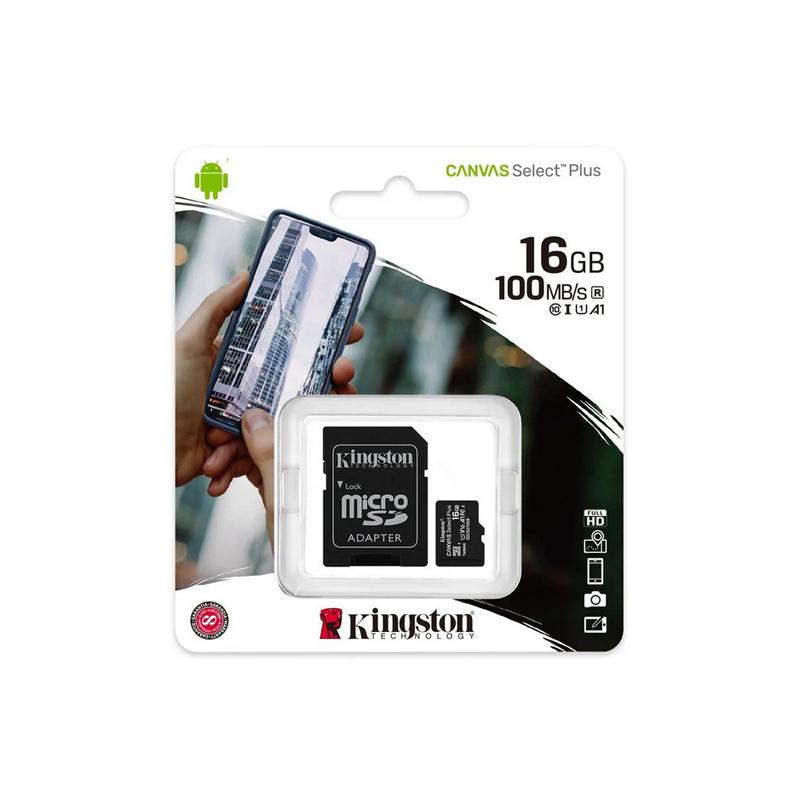 Карта пам'яті microSD 16 Гб Kingston з адаптером 100 MB/s class 10 (UHS-I A1)