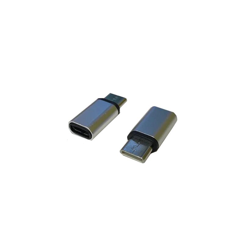 Перехідник для зарядки з microUSB на Type-C AMTC02 метал